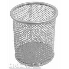 Čaša za olovke okrugla žičana srebrna