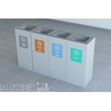Kante za reciklažu, četvrtaste, set 4/1, metalne
