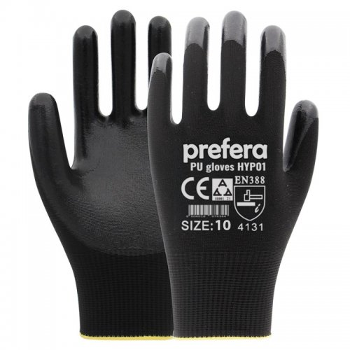Rukavice PU-poliuretanske Prefera crne 10-XL